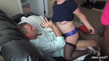 Busty blonde sucks and humps two massive cocks in steamy swinger threesome